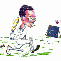 Fifty Not Out - caricature by Jon Asher