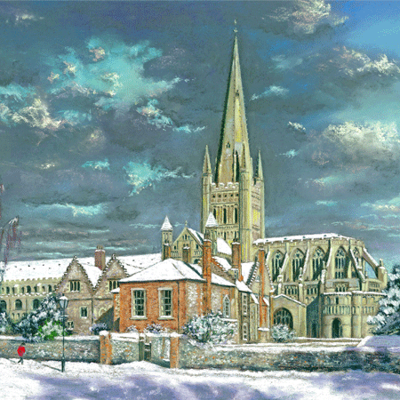 Snowy Morning at Norwich Cathedral - pastel by Jon Asher
